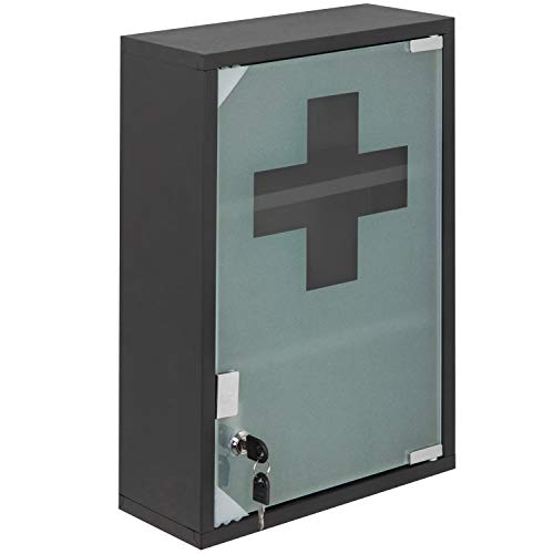 MyGift 18-Inch Wall-Mounted Metal First Aid Cabinet with Locking Glass Door & Keys