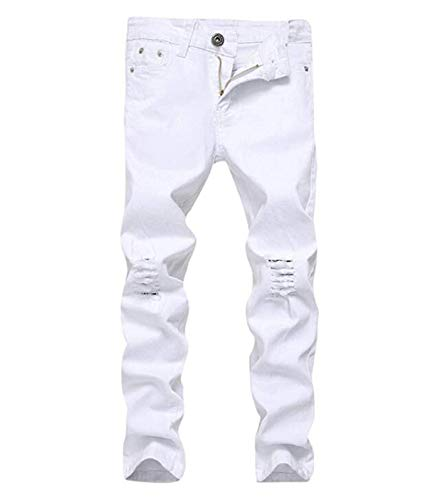 OBT Boy's White Slim Moto Biker Skinny Ripped Distressed Stretch Fashion Fit Denim Jeans 16