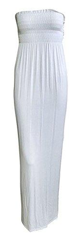 Manches 8 26 Blanc Long Maxi Pour Femmes Sans Fin Neuf RU robe Bandeau Bandeau femmes qTf7tnwO