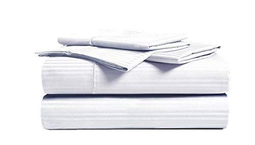 CHATEAU HOME COLLECTION Luxury Combed Cotton 500 Thread Count Executive Stripe 4 Piece Sheet Set, Great Deal - Lowest Prices, (Cal King, White)