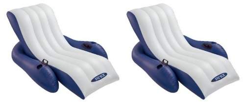Lounge Pool Recliner - Intex Inflatable Floating Comfortable Recliner Lounges with Cup Holders (2 Pack)
