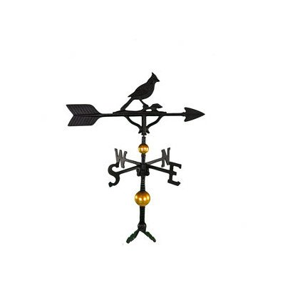 Cardinal Weathervane (Montague Metal Products 32-Inch Deluxe Weathervane with Satin Black Cardinal Ornament)