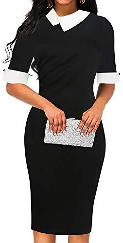 (LunaJany Women's Half Sleeve Empire Waist Wear to Work Office Pencil Dress XLarge Black)