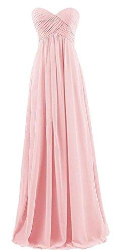 Alion Femmes Élégantes Robes De Soirée De Bal Longue Robe De Demoiselle D'honneur Bustier Rose