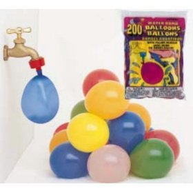 Balloons-Water Bomb Balloons w/nozzle-200-Assorted Colors - Birthday Party/Fun Play
