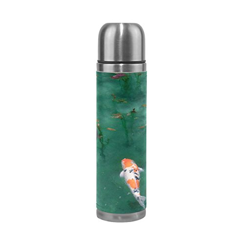 DEYYA Animal Fish Carp Koi Pattern Print Stainless Steel Thermal Mug Vacuum Insulated Leak Proof Double Wall Thermos Water Bottle with PU Leather Case 17 ()