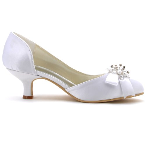 ElegantPark 100114 Women Round Toe Prom Pearl Rhinestones Bow Low Heels Satin Party Wedding Court Shoes White c10JgtAd