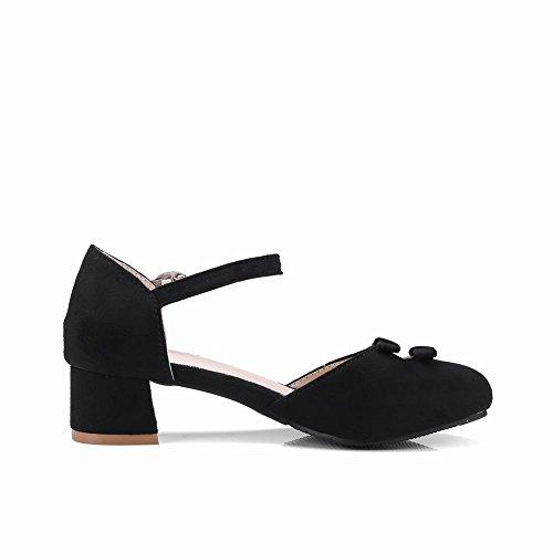 Carolbar Women's Lovely Sweet Bows Block Mid Heel Buckle Court Shoes Black CyhUkpL7