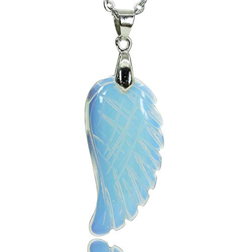 - Opalite Glass Gemstone Handmade Carved Angel Wing Pendant Necklaces 18