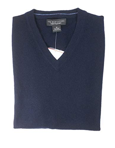 - Bloomingdale's New $198 Navy Blue 2 PLY 100% Cashmere V-Neck Sweater Size M