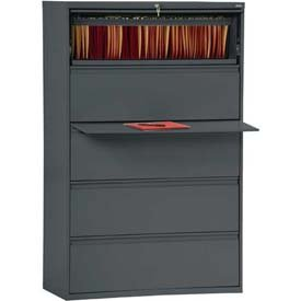 (Sandusky 800 Series Steel Lateral File Cabinet, 5-Drawers, 66 3/8