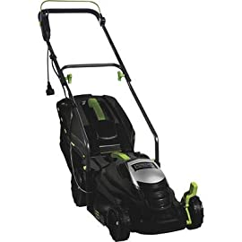 "American Lawn Mower 1204-14 14-Inch Push Reel Lawn Mower 123 Powerful 11-Amp motor provides the power to cut all types of grasses; High efficiency motor for gas-like power Large 14"" cutting width with 5-position easy-change cutting height adjustment from 1"" to 2.5"" 2-in-1 rear discharge and mulching system; Includes hard top 16 Gal grass bag with grass level indicator for convenience and easy disposal"