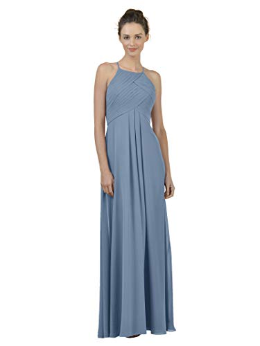 Alicepub Long Chiffon Bridesmaid Dress Maxi Evening Gown A Line Plus Party Dress, Dusty Blue, US2 ()