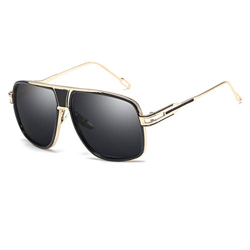 Classic Goggles Black - Sunglasses for Men Gold Square Frame with Black Lens Classic Goggle Retro Brand Designe