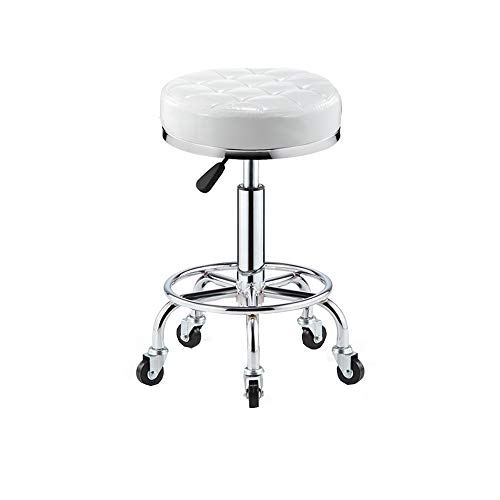 Video Game Chairs XUERUI Swivel Rolling Stool Chair with Wheels Adjustable Height Hydraulic Drafting Stool for Medical Spa Office Desk Kitchen Guitar Tattoo (Color : White)