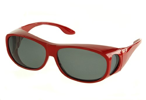 - LensCovers Wear Over Sunglasses Size Medium Red Frames with Smoke Lens - Fit Over Style