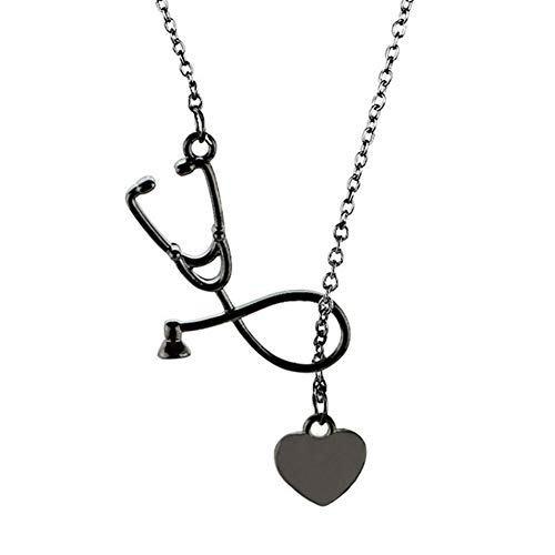 Stethoscope DoctorNecklace Pendant Stainless Steel Nurse Medical Stethoscope Clavicle Chain Necklace for Women Girls Fashion Jewelry Gift(black) ()