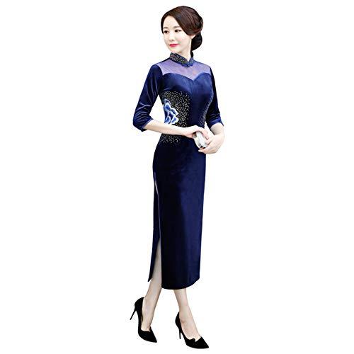 Otoño Fiesta Vestido Cheongsam Mujeres Las Azul De Terciopelo q7X6wOx