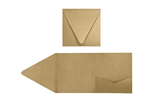 (6 x 6 Pocket Invitations - 18pt. Grocery Bag (50 Qty.) | Perfect for Invitation Suites, Weddings, Announcements, Sending Cards, Elegant Events |)