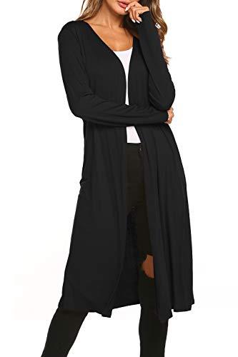 BLUETIME Women Long Open Front Maxi Duster Cardigans Long Sleeve Lightweight Sweaters (XXL, Black)