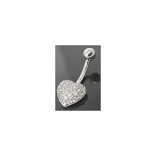 CZ PAVED HEART 14k White Gold Navel Belly Button Ring