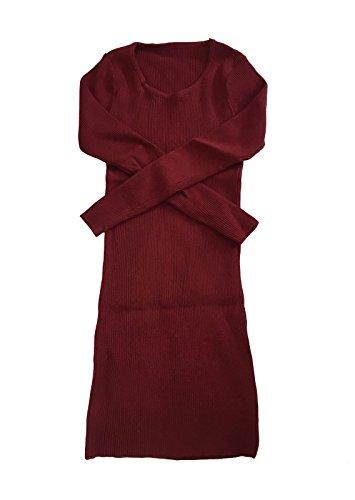 Sexy À Pull Automne Et En Style Rond Rouge Longue Femme Tricot Manche Tunique Mince Col Acvip AtIwFq5xcP