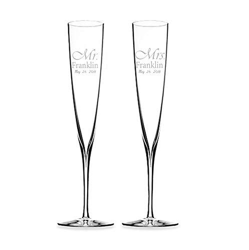 Elegance Champagne Trumpet Flute (Set of 2) (Engraved) ()