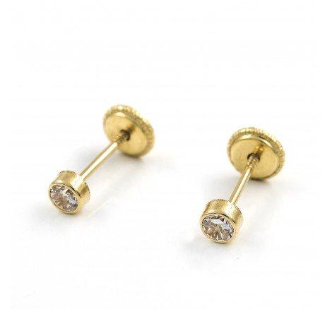 Pendientes pequeños de oro con circonitas talla brillante