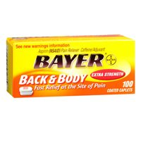 Bayer Bayer Asprin Extra Strength Back & Body Pain Reliever, 100 tabs (Pack of 3)