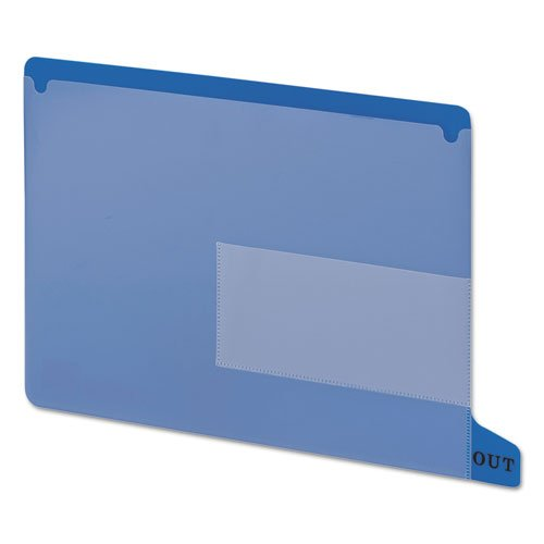 End Tab Out Guides with Pockets, Poly, Letter, Blue, 25/Box, Sold as 25 Each