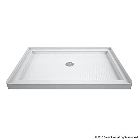 DreamLine DLT-1134420 Single Threshold Shower Center Drain Base, White (Shower Pan Floor)
