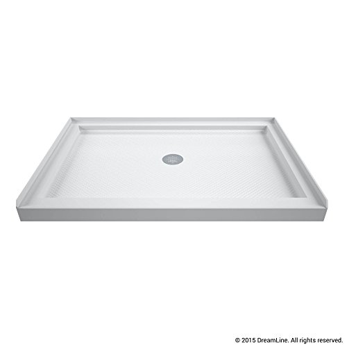 (DreamLine SlimLine 32 in. D x 48 in. W x 2 3/4 in. H Center Drain Single Threshold Shower Base in White)