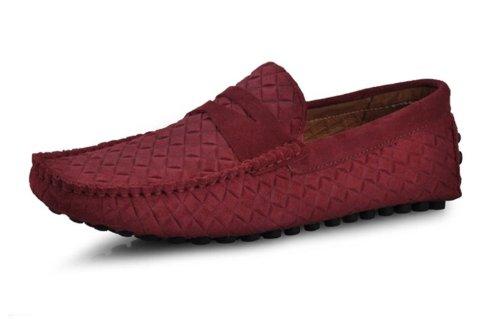 Happyshop (tm) Hombres Swede Mocasín Mocasín De Cuero Zapatos De Conducción Comfort Slip-on Penny Loafer Flats Wine Red