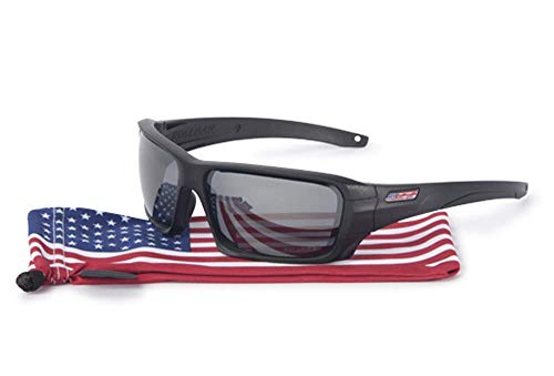 (ESS Sunglasses Rollbar USA Flag Black with Polarized Mirror Gray Lens Sunglasses)
