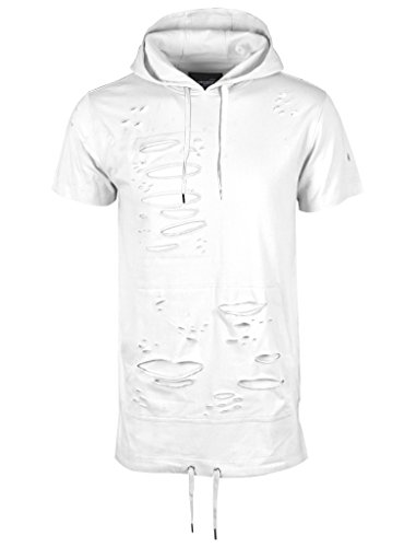 SCREENSHOT Screenshotbrand Mens Hip Hop Longline Premium Tee - Pullover Hooded Fashion T-Shirt High-Low Distress Ripped - White - Small by SCREENSHOT