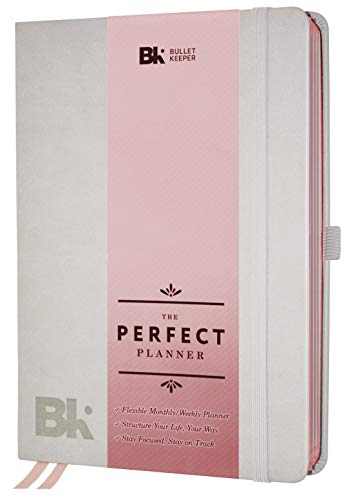 The Perfect Planner by BK. Undated Planner for 2019-20 with Weekly & Monthly Structures for Academic or Professional. A5 (5.8 x 8.3) Gray Hardcover (Rose Gold Edges)