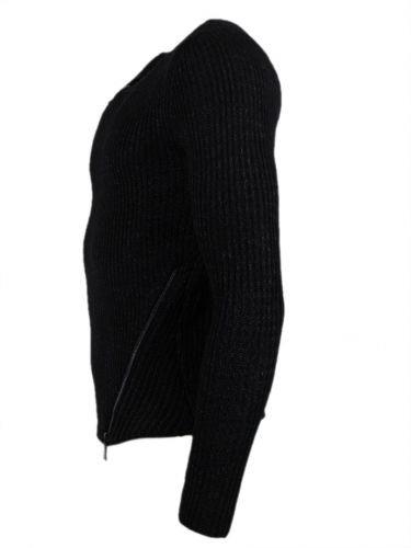 Pullover - mit schrägen Reißverschlüssen - schwarz