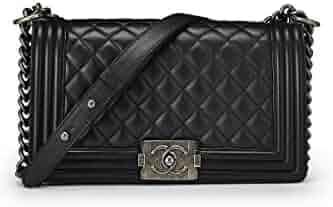 c0c745712ace60 CHANEL Black Quilted Calfskin Boy Medium (Certified Refurbished): Handbags:  Amazon.com