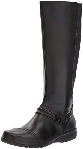 CLARKS Women's Cheyn Whisk Riding Boot, Black, 7 M US