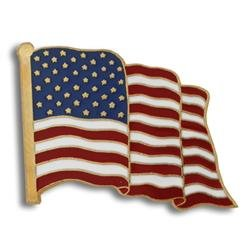 Gold Plated Waving American Flag Lapel Pin