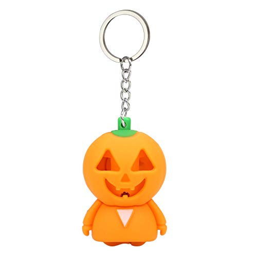 Pausseo Halloween Pumpkin Cartoon Keychain with LED Light Sound Keyfob Kids Toy GiftGift Pendant Handbag Backpack Crossbody Charm Unique Elegant Key Ring for Men and Women (Orange)