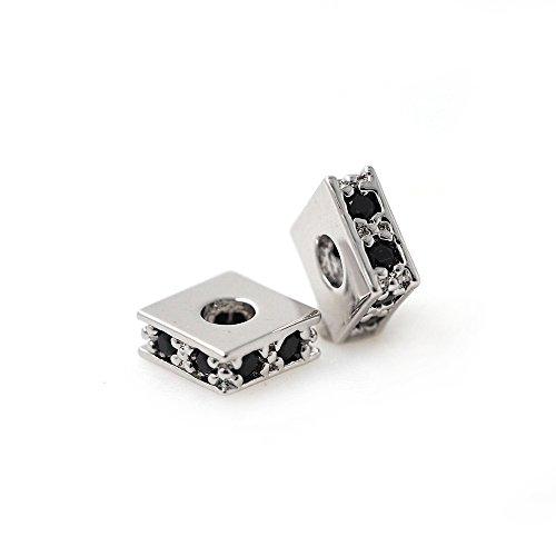 Square Spacer Bead Charms Pave Black CZ for Men Women Bracelet/Necklace DIY Making 6x6mm 10Pcs