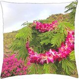 Hawaiian Orchid Lei on ferns next to bougainvillea on mountain in Hawai Polynesia - Throw Pillow Cover Case (18 ()