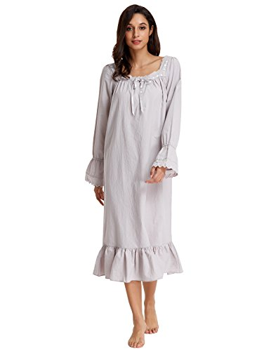 Zexxxy Plus Size Victorian Nightgowns For Women With Ruffled Bottom Nightshirt Gray (Cotton Ruffled Nightgown)