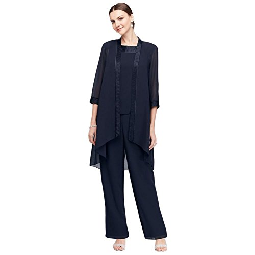 David's Bridal Chiffon Three-Piece Pantsuit with High-Low Jacket Style 24799, Navy, 16