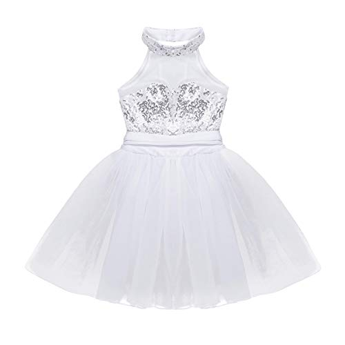 Freebily Girls Sequined Camisole Leotard Ballet Tutu Layers Skirt Dress Ballerina Dancewear Costumes (10-12, White (Mock ()