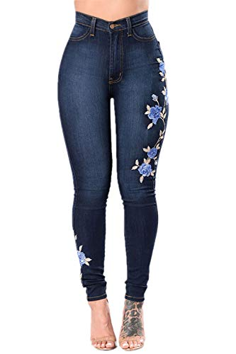 Ricamate Jeans Zonsaoja Tratto Donne Per Rose Blu Jeans Attillati IwdrTd