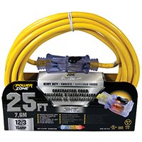 Yel Cord Ext 12/3 (PowerZoneProducts Cord Ext 12/3 Sjtow X 25Ft Yel, Sold as 1 Each)