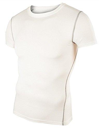 LANBAOSI Men's Training Top Compression Short Sleeve Quick Dry Base Layer Shirt L White