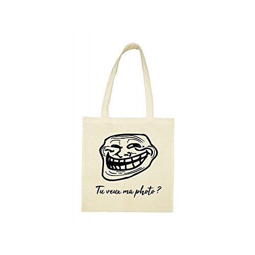 Tote bag troll beige bag Tote face aw7wq6P8